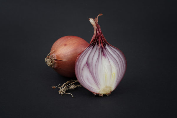 Onion sliced in half