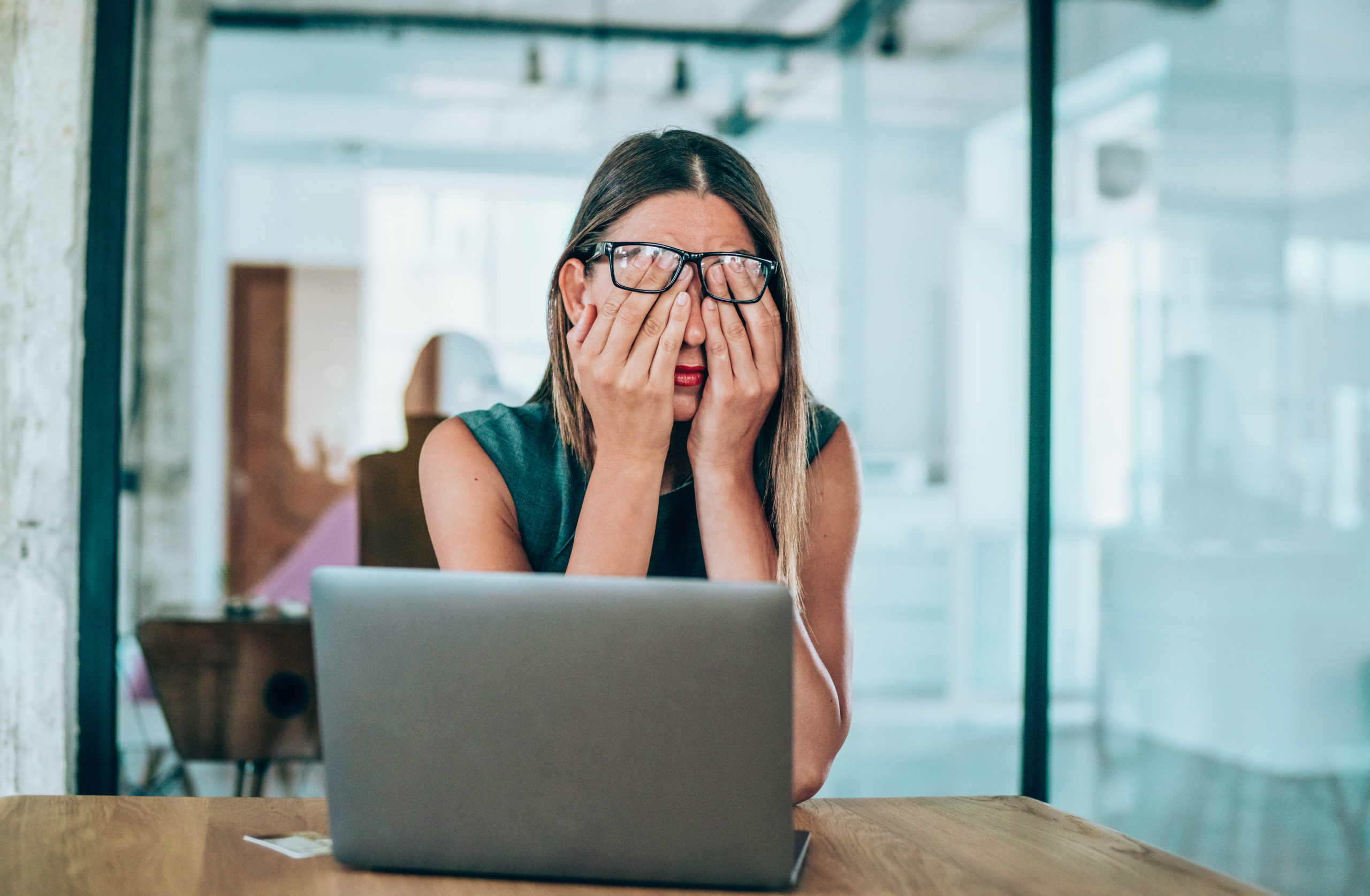 Woman Being Stressed At Work